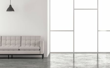 Minimal loft style living room 3d render.There are concrete floors,white walls.decorated with white fabric furniture,The rooms have large windows. natural light shines into the room. Фото со стока - 133803501