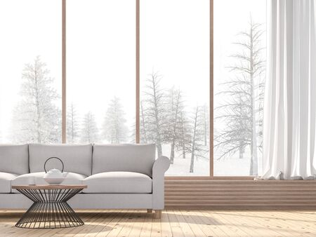 Winter living room 3d render,There are wooden floors decorated with fabric sofa.There are large windows look out to see snow view. Фото со стока - 133803518