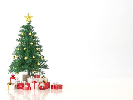 Christmas tree on white background 3d render,decorate with red and white gift box. Фото со стока - 133803519