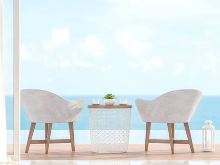 Closeup image of 2 white chairs with wooden legs Located on the pool terrace With a blurred sea background image - 3d render Фото со стока - 133803520