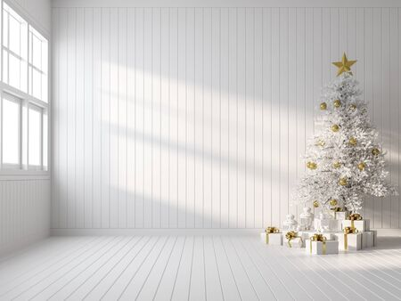 Empty white room decorate with white christmas tree 3d render,there are white wood plank wall and floor ,sunlight shining into the room. Фото со стока