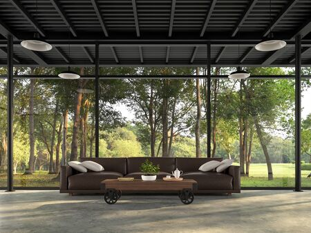 Industrial loft living room with nature view 3d render There are polished concrete floors and black steel structures decorated with dark brown leather sofas with large windows surrounded by forest. Фото со стока