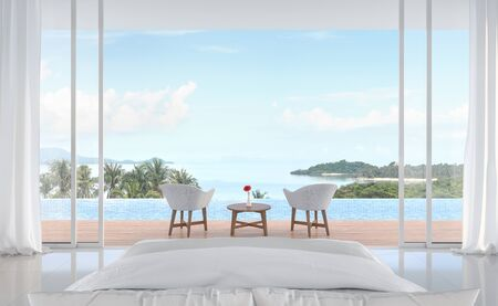 Minimal bedroom with swimming pool and sea view 3d render. White room. Wooden balcony decorated with white furniture. Sliding doors open to see nature.