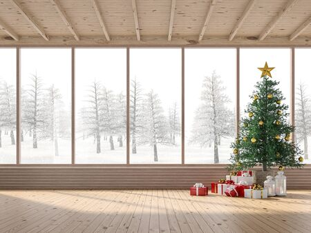 The interior of a wooden house with Christmas trees 3d render. The rooms have wooden floor and ceilings, decorated with pine trees and gift boxes. Large windows look out to snow scenes. Фото со стока