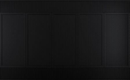 Empty black metal wall blackground 3d render Фото со стока