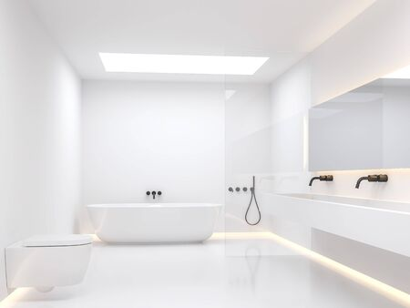 A simple white bathroom 3d render. The room has white walls and floors decorated with hidden light in the walls. Natural light shines through the skylight box on the ceiling. Фото со стока - 138022878
