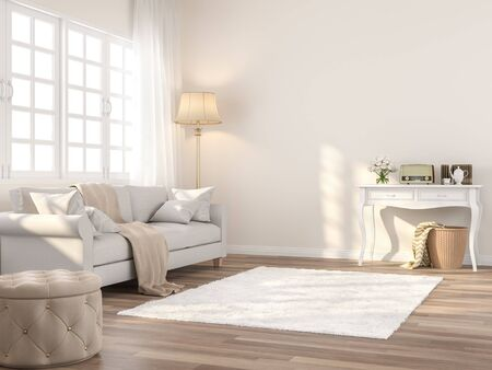 Vintage style living 3d renderThe Rooms have wooden floors and cream color walls ,decorate with white fabric sofa,there white window sunlight shining into the room.