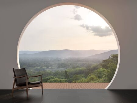 A wall with arch shape gap looking out over the mountains 3d render,The room has black tile floor.Furnished with wood and leather chair.Looking out to the balcony and nature view. Фото со стока - 138022880