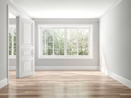 Empty classical style room 3d render,The rooms have wooden floors and gray walls ,decorate with white moulding,there white window looking out to the balcony and nature view. Фото со стока - 136610190