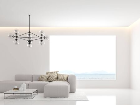 Minimal white living room 3d render,Decorate with white fabric sofa ,There are large windows looking out to the sea.