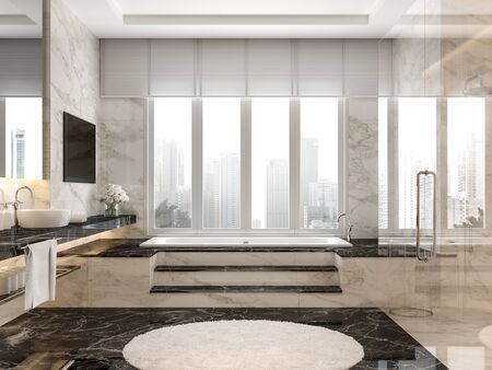 Modern luxury bathroom with black and white marble tile 3d render,The room has a clear glass shower partition,There are large windows looking out to the city view.