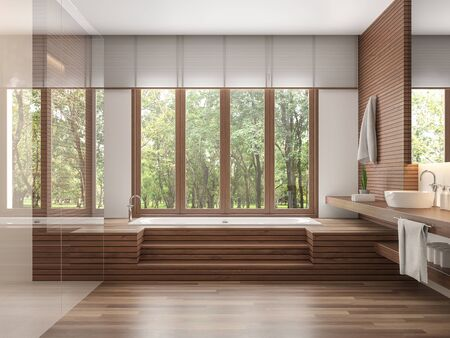 Wood bathroom modern contemporary style 3d render.Decorate wall and floor with wood .There are large windows look out to see the nature