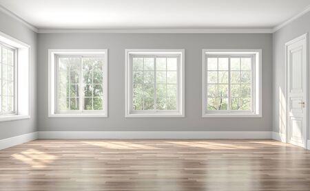 Rendu 3d classique de l'intérieur de la pièce vide, les chambres ont du parquet et des murs gris, décorées avec des moulures blanches, il y a une fenêtre blanche donnant sur la vue sur la nature.