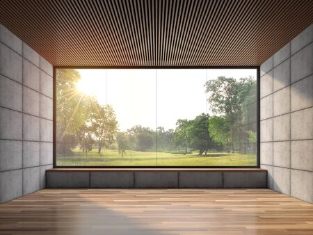 Modern contemporary loft empty room with nature view 3d render.There are wood floor polished concrete wall and wooden ceiling.There are big windows look out to see garden view.