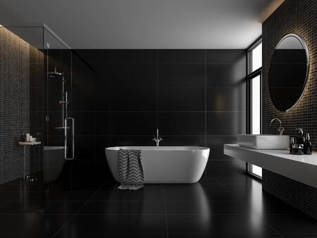 Modern luxury black bathroom 3d render,The room has black tile floor and black mosaic wall, a clear glass shower partition,There are large windows nature light shining in to the room.