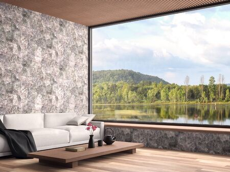 Contemporary living room with nature view 3d render,The rooms have wooden floors, natural stone walls and wooden ceilings decorated with white fabric sofas with large windows overlooking the lake view. Фото со стока