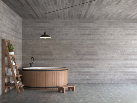 Modern loft style bathroom 3d render,There are polished concrete floors, wood plank stamped concrete walls, decorate with rounded wooden bathtub. Фото со стока