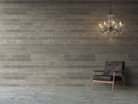 Empty loft concrete wall 3d render,There are polished concrete floors, wood plank stamped concrete walls, decorate with  brown leather furniture and luxury chandelier.