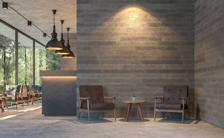 Loft style coffee shop with nature view 3d render,There are polished concrete floors, wood plank stamped concrete walls, decorate with  brown leather furniture,Large window overlooking green garden. Фото со стока