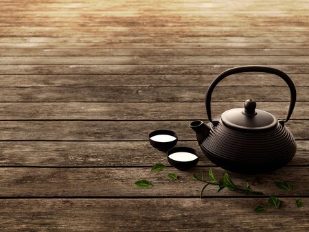Traditional eastern black iron teapot on old wooden floor 3d render