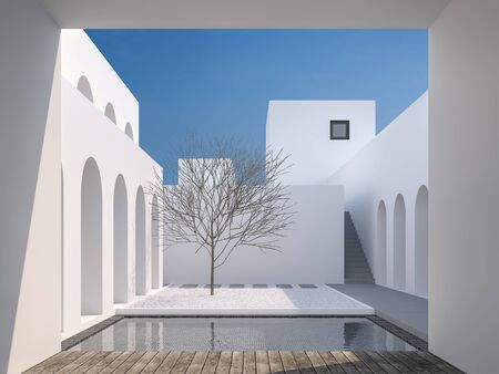 Minimal style courtyard space 3d render,There are a swimming pool with black tiles Surrounded by white buildings Decorated with wooden benches with clear sunlight shining down.
