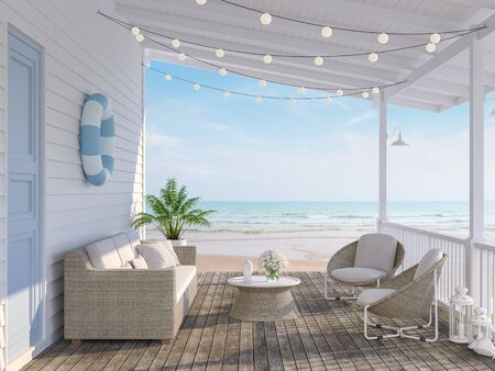 The wooden house terrace on the beach 3d render,Tthere has old wooden floors,white plank walls,blue doors decorated with fabric and rattan furniture, decorated with string lights, overlooking the sea.