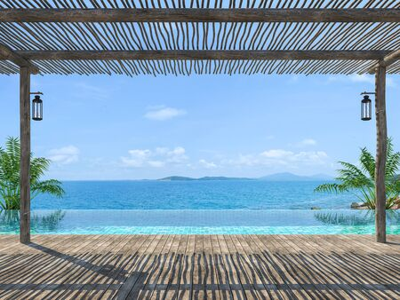 Empty tropical pool terrace 3d render with old wood flooring Wooden poles and covered with wooden battens overlooking the infinity pool and sea views Standard-Bild