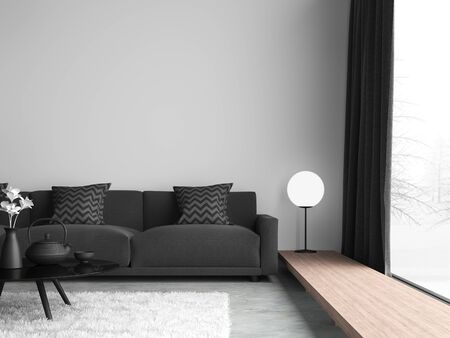 Minimal style black and white living room 3d render,There are concrete floor,white wall.Finished with black fabric sofa,The room has large windows. Looking out to see the view of winter. Standard-Bild