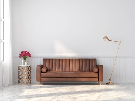 Orange-brown vintage leather sofa in a classic white room 3d render With marble floors Decorate the golden table and lamp There is a large window of sunlight entering the room.