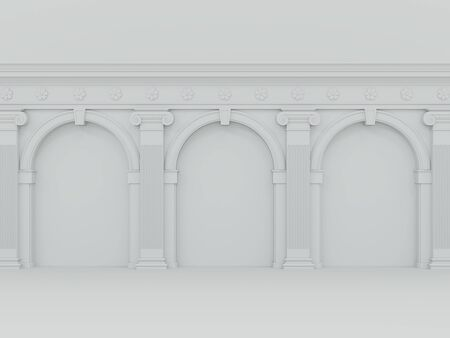 Classical style white empty wall 3d render.A blank wall decorate with colonial column and arch.