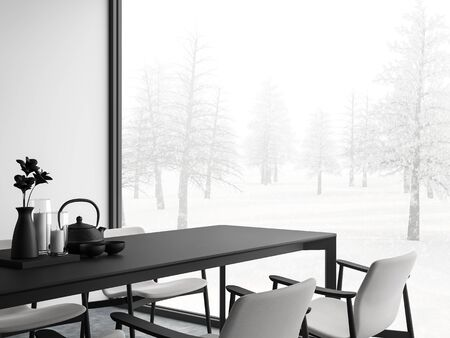 Minimal style black and white dining room 3d render,There are concrete floor,white wall.Finished with black and white furniture,The room has large windows. Looking out to see view of winter.
