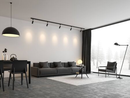 Minimal style living and dining room 3d render,There are concrete floor,white wall.Finished with black and white furniture,The room has large windows. Looking out to see the view of winter. Banco de Imagens