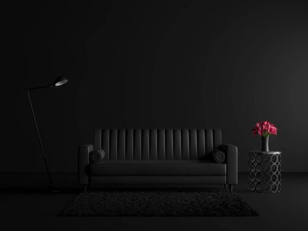 Minimal style black living room with vintage sofa 3d render.decorated with black carpets, metal tables, industrial style lamps and red flowers in vase.