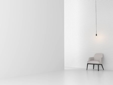 Minimal white style room with corrugated wall 3d render,decorate with white fabric and black wood furniture  Standard-Bild
