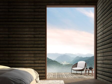 The bedroom of a wooden cottage 3d render,The room has wooden floor,old wood plank wall.Furnished with white bed and rattan chair.Looking out to the terrace and mountains view.