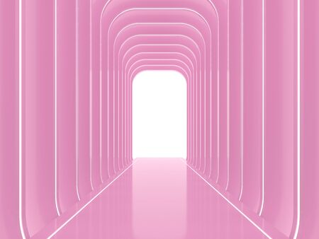 Abstract glossy pink space background 3d render,There are arch shape wall pattern decorate with led stripe light.
