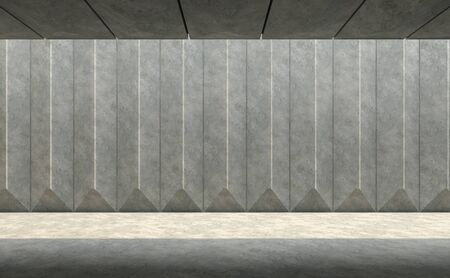 Empty concrete wall pattern 3d render With sunlight shining on the ground
