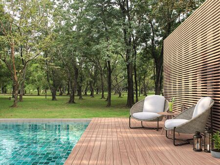 Swimming pool terrace with garden view 3d render,  There are a wooden floor ,green tile in the swimming pool and ,wooden lath wall,Decorated with rattan furniture,Surrounded by nature.
