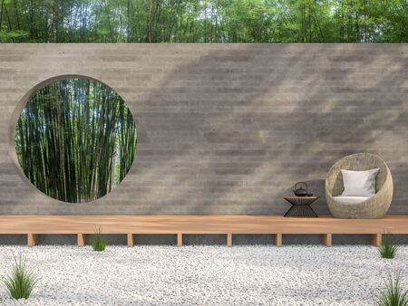 Zen garden style idea 3d render,There are white stone ground,wooden terrace,blank concrete wall with circle shape of void overlooking bamboo garden background.