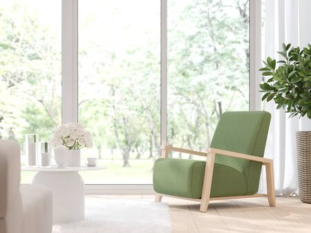 Close up view of modern living room with blurry nature background 3d render,There light wooden floor and large window overlooking to garden view.