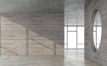 Empty loft style concrete room with sunlight shininng in the room 3d render Standard-Bild