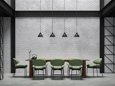 Industrial loft style dining room 3d render.There are white brick wall,polished concrete floor and black steel structure.Furnished with green fabric chair and wooden table.