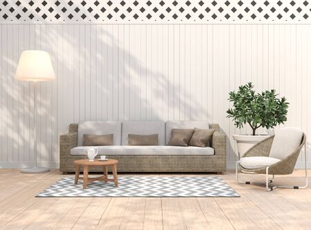 Vintage terrace 3d render,There are light wooden floors, empty white plank walls decorating living area with rattan furniture.
