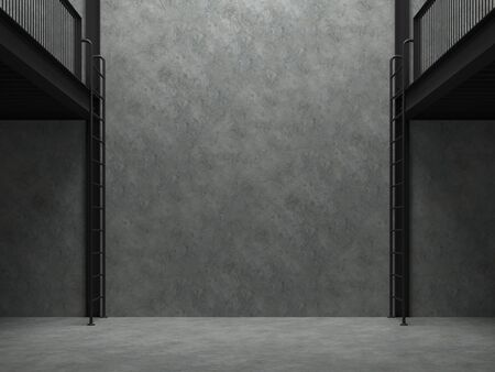 Blank concrete wall in empty warehouse 3d render,There are polished concrete floor and wall,black steel structure,natural light shining from above into the room. Standard-Bild