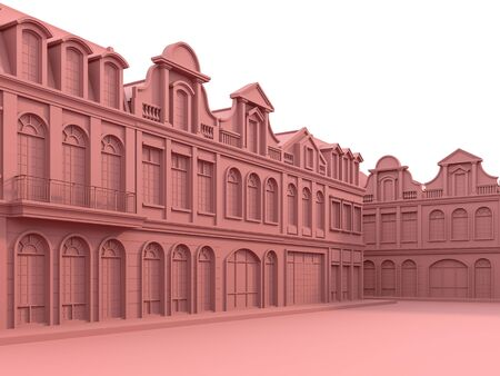 Classical style townhouse with coral pink color 3d render.The building has variety forms. There is a courtyard in front of the building.