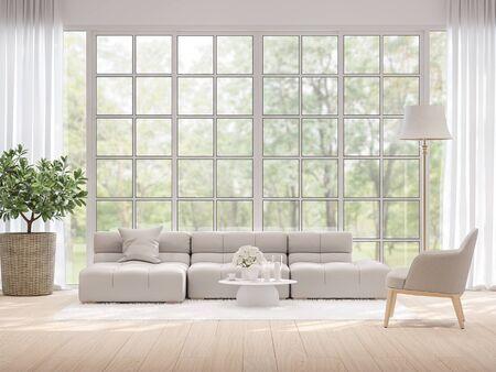 Soggiorno moderno con sfondo sfocato vista natura 3d rendering, pavimento in legno chiaro e ampia finestra con vista sul giardino. Archivio Fotografico