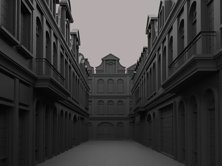 Black street concept with classical style building 3d render,The atmosphere is dark but elegant.
