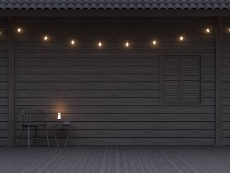 Empty black plank wall exterior 3d render,decorate with string light ,furnished with black wooden chair.