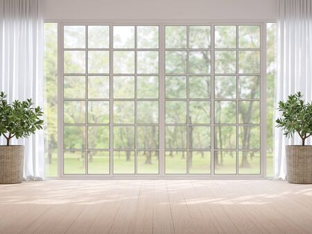 Empty room with blurry nature background 3d render,There light wooden floor and large window overlooking to garden view,sunlight shining into the room. Standard-Bild