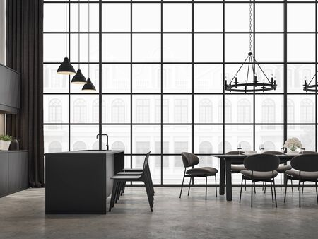 Industrial loft kitchen and dining room 3d render,There are concrete floor,decorated with black wooden furniture,The room has large windows. Looking out to see classical building outside.